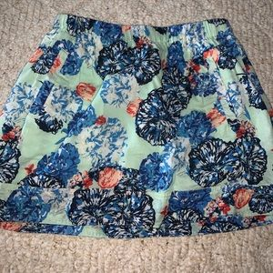 Teal and floral print JCrew skirt